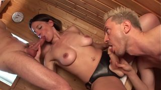 Sauna bisexual scene with Amelie Jolie, Rico Simmons and his friends